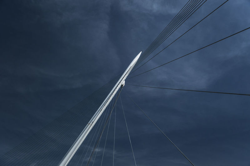 stick and stripes Architecture Construction Diagonal Horizontal Low Angle View Modern Pylon SPAIN Sky And Clouds Stripes Abstract Blue Blue Sky Bridge Building Exterior Built Structure Cable Day Linear No People Outdoors Sky Stick
