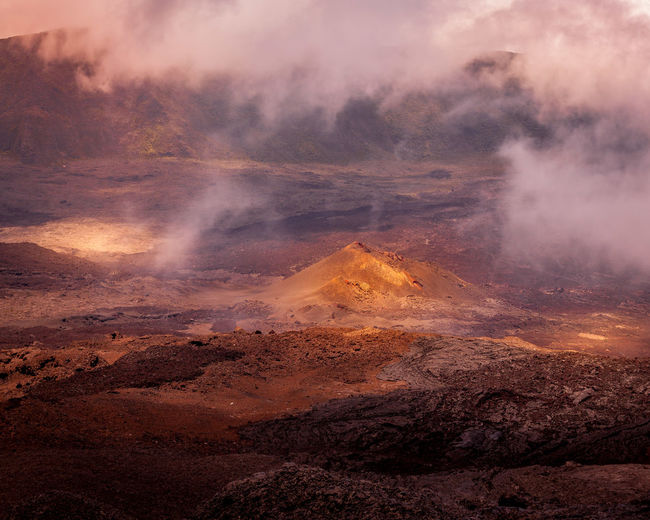 Aerial view of volcanic landscape
