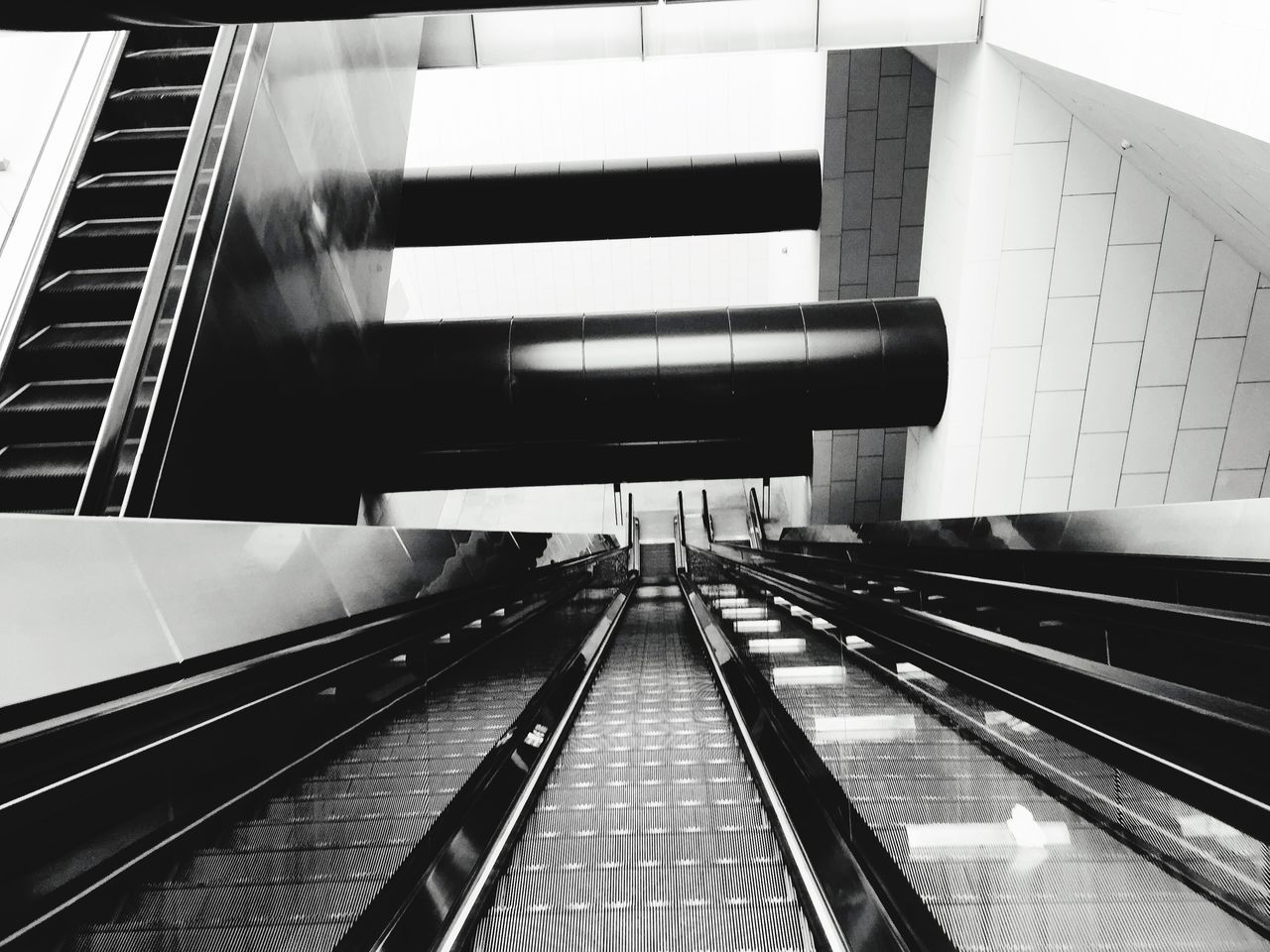 High Angle View Of Empty Escalators In Building