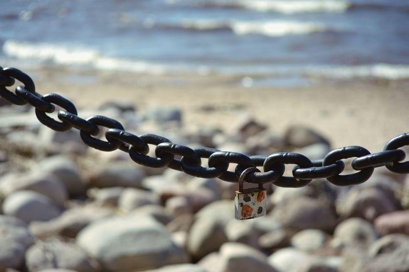 padlock Stones Shoreline Waves Saint Petersburg No People Summer Strength Rusty Chain Hanging Lock Padlock Protection Safety Metal Security