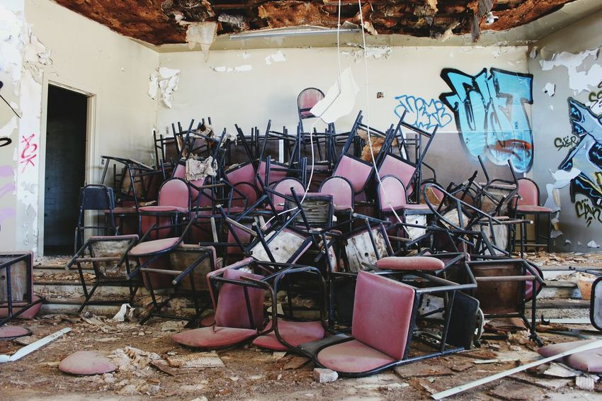 Abandoned Abandoned & Derelict Abandoned Places Abandoned School Asbestos Chairs Decay Dusty EyeEm_abandonment Trashed
