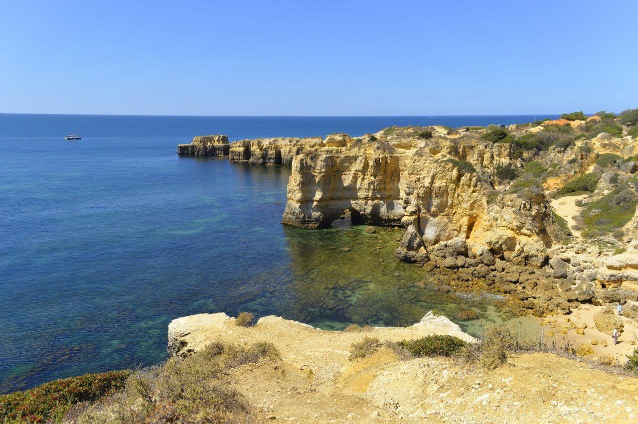 Scenic View Of Sea Against Sky At Algarve