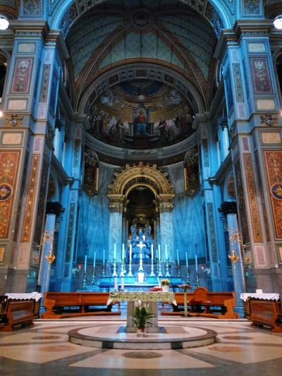 Blue light in the church Blue Light Blue Altar Amazing Colour Coloured Whorship Place EyeEm Selects Place Of Worship Religion Architectural Column Architecture Built Structure Altar Church Historic Catholicism History Cathedral Interior Arch Historic Building