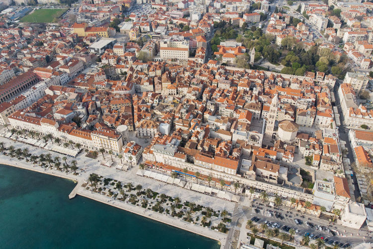 Aerial view of the old town of split croatia