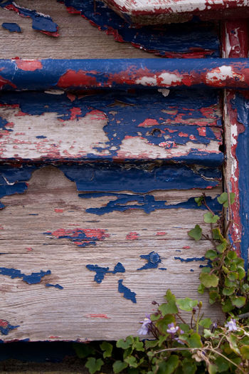 Backgrounds Bad Condition Bare Wood Blue Boat Broken Destruction Deterioration Geometry High Angle View Leaf Leaves Multi Colored Pain Peeling Peeling Paint Red Upturned Upturned Boat Wood