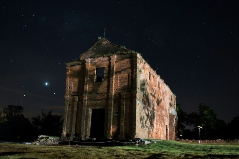 Night Old Ruin Old Abandoned History Ancient Architecture Business Finance And Industry Grass Outdoors Sky No People Star - Space Astronomy