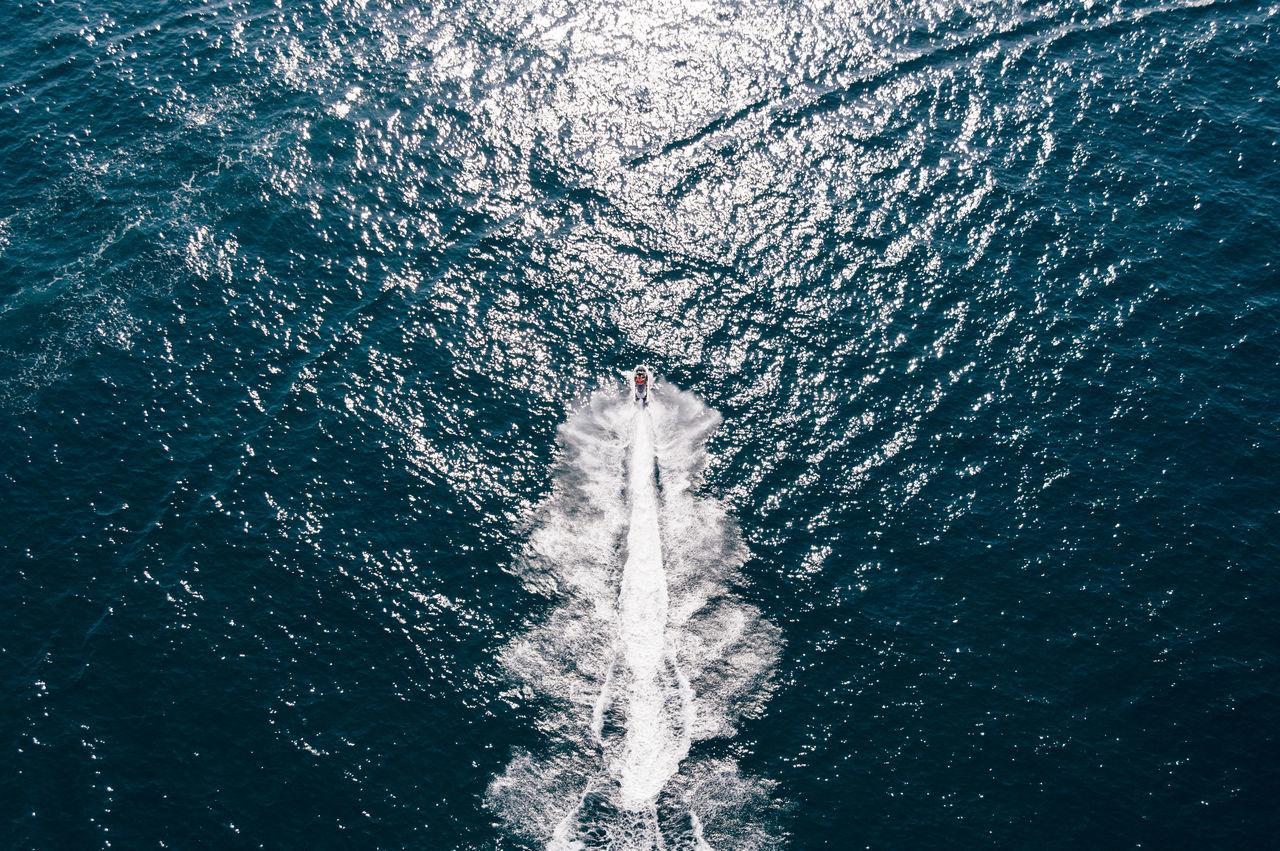 High angle view of wake at sea