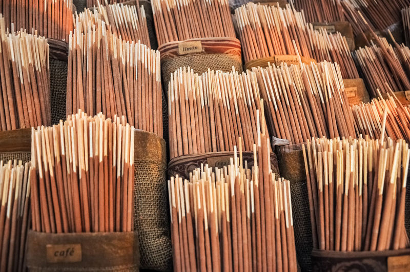 Full frame shot of incense sticks for sale