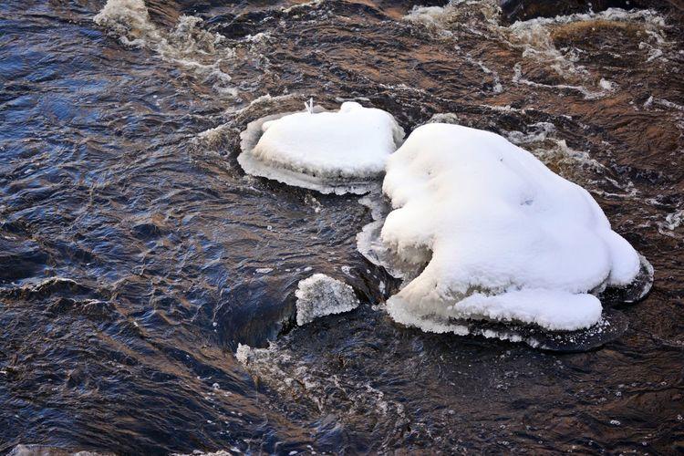 Winter Waters Creek Rushing Water Textured  Winter Cold Temperature Frigid Snow Stream Swirling Water