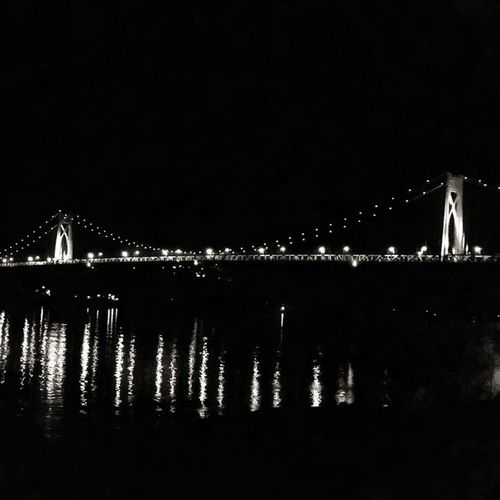 Night by the bridge. MidHudsonBridge Bridge Poughkeepsie Newyork Night Blackandwhite Latergram Hudson River