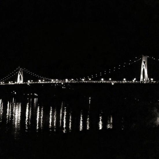 Night by the bridge. MidHudsonBridge Bridge Poughkeepsie Newyork Night Blackandwhite Latergram Hudson River