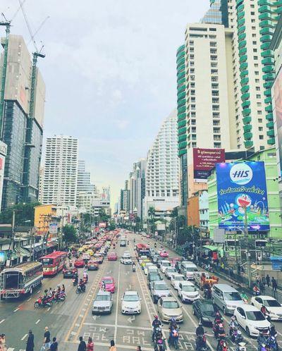 Asoke... City Thailand Bangkok Street Road Transportation Building Exterior Architecture City Life Traffic