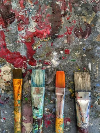 Colorful oil paint brushes Paintbrush Paint Oil Paint No People Indoors  Palette Variation Multi Colored Close-up Art Studio Day Art And Craft Wood - Material Work Tool Oil Paint Dirty Workshop Work Art Painting (null)Painter Brushes Backgrounds Wallpaper