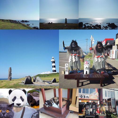 """秋田山形日記 DAY 2 入道崎 秋田の男鹿半島を、絶景を眺めながらドライブーーーンです🚗💨 なまはげ館を見たあとに向かったのは、男鹿半島の最北端に位置する岬・入道崎です👹👍🏼 なだらかに広がった芝生と、すごい断崖の景色。 日本海の地平線が、素敵な眺めでした🌊👀✨ 入道崎のシンボル、白と黒のしましま灯台が可愛かったです🐼🐄✨ 灯台の展望台でパノラマビューをしたかったのですが、すでに閉まってました😑 残念💦 ちなみに、入道崎灯台は""""日本の灯台50選""""にも選ばれているそうです! 残念無念💦💦 日本海をバックに写真も撮りました🌊📱✨ 🕊オウム→母ゆーさん 🐼パンダ→叔母りっちゃん 🐈→わたし ほとんど、海が見えませんww 岬の芝生には、北緯40°モニュメントがずらりと並んでたり、周辺には、ごはん処やおみやげ屋さんが軒を連ねてます👹🍙🍺🍴 おみやげ屋さんには、看板猫の""""ミーちゃん""""が寝てました🐱💤 お客さんの接客や、見回りなどをして疲れたみたいです😊 お疲れさまでした😺🐟🍵 入道崎でもなまはげさんに会い、次の場所へ👹🚗💨 つづく。 秋田山形日記 秋田 男鹿半島 男鹿 なまはげ 旅行記 旅行 旅 入道崎 日本海 灯台 海 猫 ねこ"""
