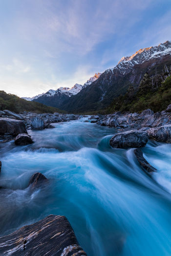 Flow  Nature Travel Beauty In Nature Blue Cold Temperature Landscape Mountain New Zealand No People Outdoors River Scenics Snow Sunrise Tranquility Water Winter