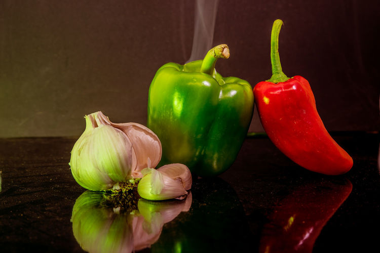 Close-up of bell peppers on table
