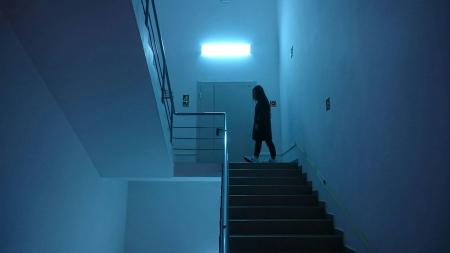 Silhouette of woman walking on staircase
