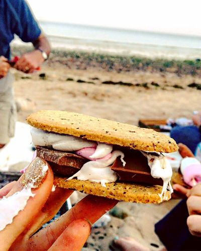 S'mores Beach Horizon Over Water Sea Shore Close-up Focus On Foreground Person Water Outdoors Sand Chocolate Marshmallows Memories Smores Bonfire Melted Wales Swansea Non Urban Scene