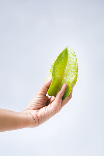 Cropped image of hand holding fruit against white background
