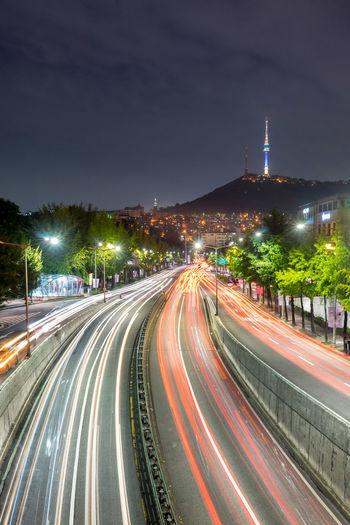 Seoul Tower, Korea Architecture Busy City City Life City Life Cityscape Cityscapes Highway Korea Light Trail Long Exposure Lowlight Motion Night Road Seoul Speed Street Tower Traffic Traffic Transportation Travel Urban Wanderlust
