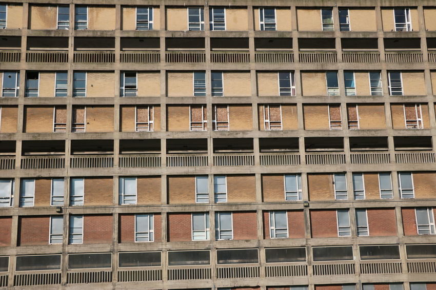 Architecture Balcony Building Building Exterior Building Story Built Structure City City Life Day Development Full Frame In A Row Modern No People Park Hill Flats Repetition Residential Building Residential Structure Sheffield Window
