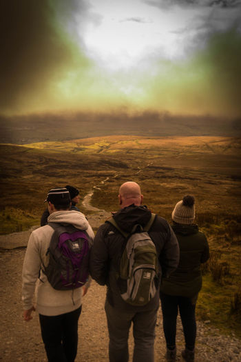 Adult Adults Only Adventure Camera - Photographic Equipment Day Eco Tourism Explorer Hiking Mature Adult Men Mountain Nature Only Men Outdoors Pen-y-ghent People Photographer Photography Themes Rear View Sky Three Peaks Two People Vacations Yorkshire Dales Yorkshire Three Peaks
