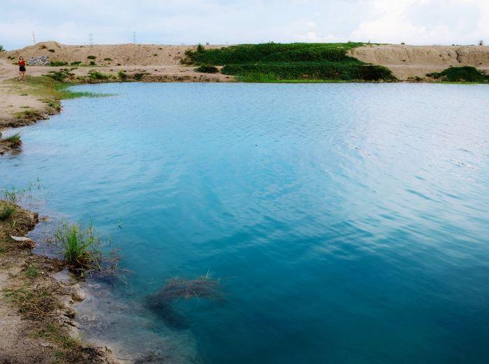 Blue blue water River Water Sand Blue Sky Landscape Plant