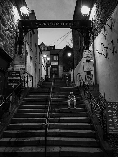 Blackandwhite Child Architecture Staircase Built Structure Steps And Staircases Building Exterior Railing Real People City Street Night