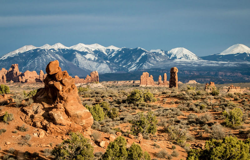 The beautiful Arches State Park!!! EyeEm Selects Mountain Desert Snow Rock Hoodoo Wilderness Arid Climate Rock - Object Sky Landscape Mountain Range Sandstone Canyon Natural Landmark Rugged Rocky Mountains Moab  Snowcapped Mountain