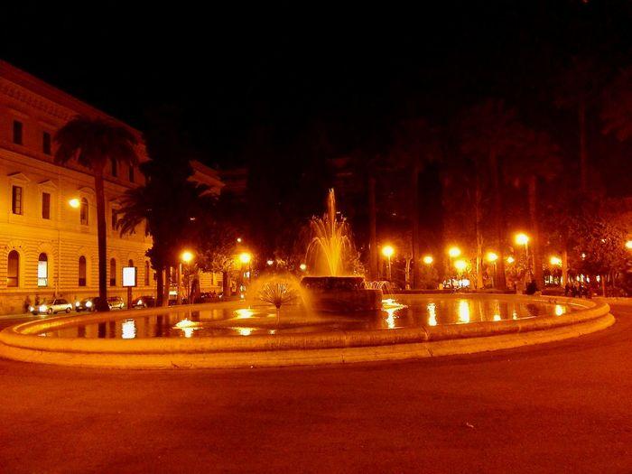 Cityscape Lights Water Fountain Bari