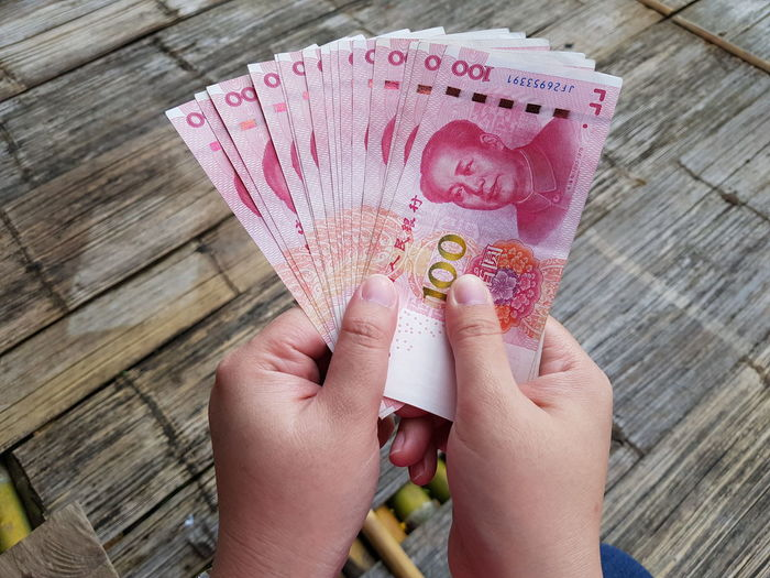 Cropped hand holding chinese paper currency