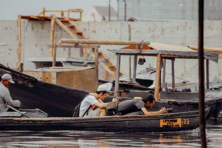 People working in boat