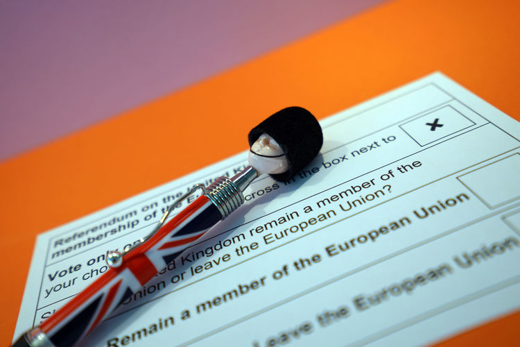 Close-up of british pen with ballot slip on table