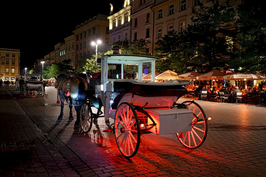 Carriage Horse And Carriage Architecture Bicycle Building Exterior Built Structure City Illuminated Land Vehicle Mode Of Transport Night Outdoors Real People Sky Street Transportation Tree
