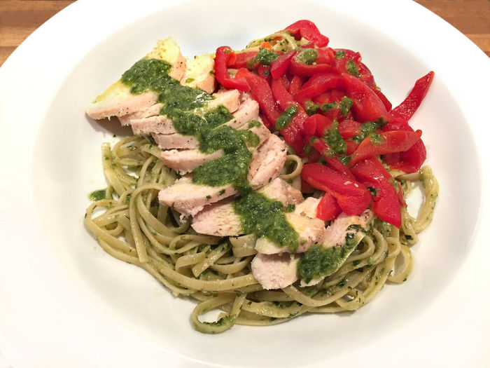 Linguine with pesto sauce, grilled chicken, and roasted peppers Chicken Close-up Dinner Dinner Time Food Freshness Grilled Italian Italian Food Linguine Meal Meat Pasta Pesto Plate Ready-to-eat Roasted Peppers Sauce