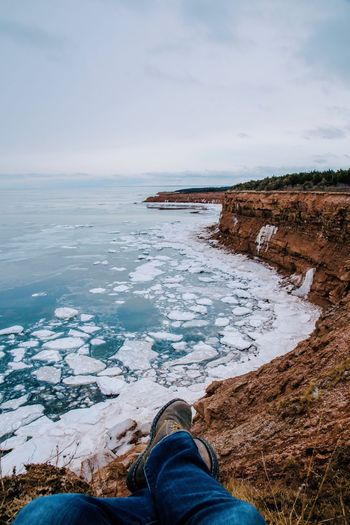 dreams Seascape Photography Ice Winter Cliffs EyeEm Best Shots - Landscape EyeEm Best Shots EyeEmNewHere Prince Edward Island Human Leg Personal Perspective Low Section One Person Human Body Part Water Shoe Sky Sea Leisure Activity Nature Lifestyles Real People Beauty In Nature Scenics Outdoors Men Horizon Over Water Love Yourself EyeEmNewHere