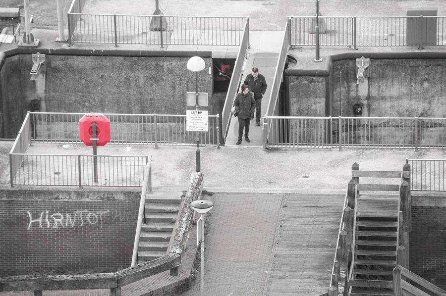 Blackandwhite Bridge Colorsplash Couple Eyeem Colorkey Harbour Harbour View High Angle View Lifesaver