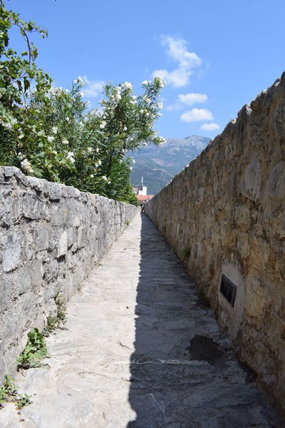 Budva,Montenegro Architecture Budva Old Town Built Structure Day Diminishing Perspective Direction Footpath History Lifestyles Nature One Person Outdoors Plant Retaining Wall Sky Stone Wall Sunlight The Past The Way Forward Tree Wall Wall - Building Feature