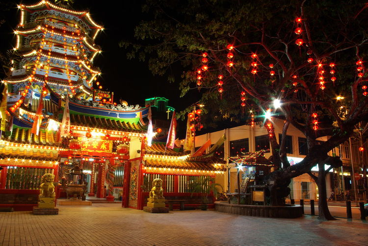 Tua Pek Gong Temple, Sibu, Sarawak. Ancient Architecture Celebration City Life Decoration Illuminated Lantern Lighting Equipment Night Old Tree Street Taoism Temple Tradition Tua Pek Gong