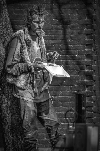 The Street Photographer - 2017 EyeEm Awards One Person Outdoors Little Five Points Atlanta Ga Street Photography Streetphotography Portrait Streetphoto_bw Racoonicorn Photography City Life