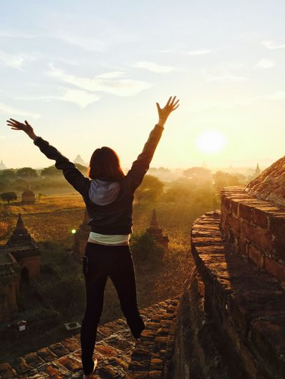 Color Of Life Myanmar Bagan Celebration Morning Sun Sunrise Taking Photos Travel Photography Myanmar Diary Gold Light Pagoda Embrace People And Places