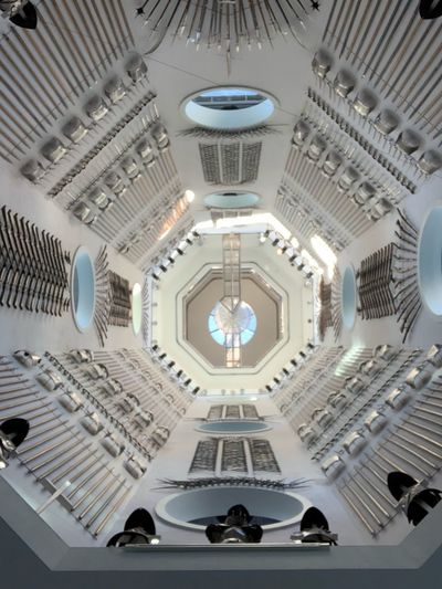 Royal Armouries Museum Weaponry Museum Swords Architecture Built Structure Dome Ceiling No People Indoors  Low Angle View Lighting Equipment Pattern Building Design Shape Travel Destinations Place Of Worship Architectural Feature Arch Cupola Ornate