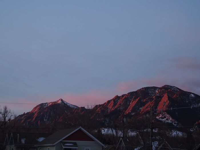 Pink Sky Sunset Colorado Flat Irons Sky Mountain Architecture Built Structure Building Exterior Scenics - Nature Nature No People House Building Tree Tranquil Scene Tranquility Mountain Range Beauty In Nature