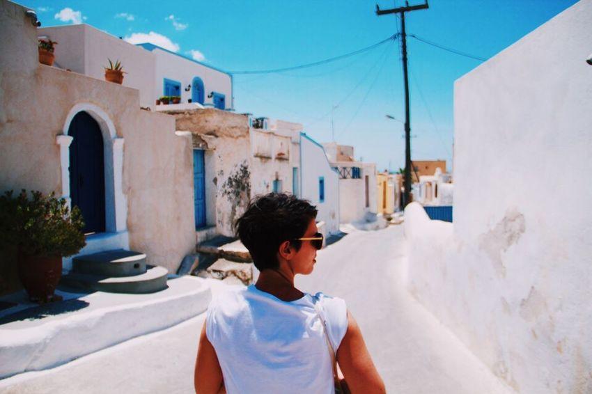 Feel The Journey Holiday Santorini Woman Greece