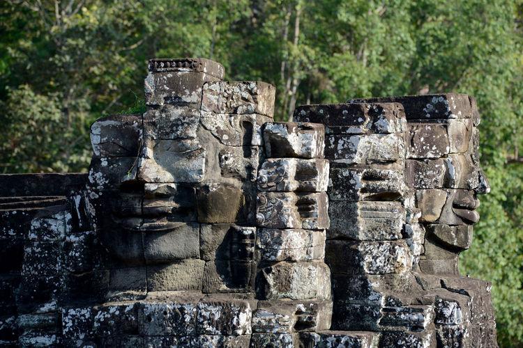 Buddha carvings on bayon temple