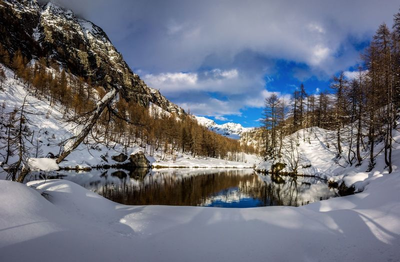 Proprio l'amore è il segreto che si cela dietro la nascita del Lago delle Streghe nel Parco Naturale Alpe Veglia Alpe Devero. Love is the secret behind the birth of Lago delle Streghe in the Alpe Veglia Natural Park Alpe Devero. Snow Winter Cold Temperature Scenics - Nature Tree Mountain Tranquil Scene Tranquility Plant No People Snowcapped Mountain Beauty In Nature Blue Landscape Land Lake Tree Tranquility EyeEm Best Shots EyeEmNewHere EyeEm Nature Lover EyeEm Selects EyeEm Gallery Sky Scenics