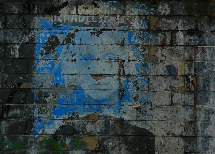 Blue Face Damaged Face Graffiti Old Wall Wall - Building Feature Weathered