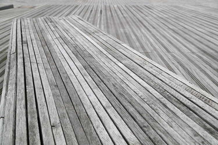 Close-up of empty wooden bench