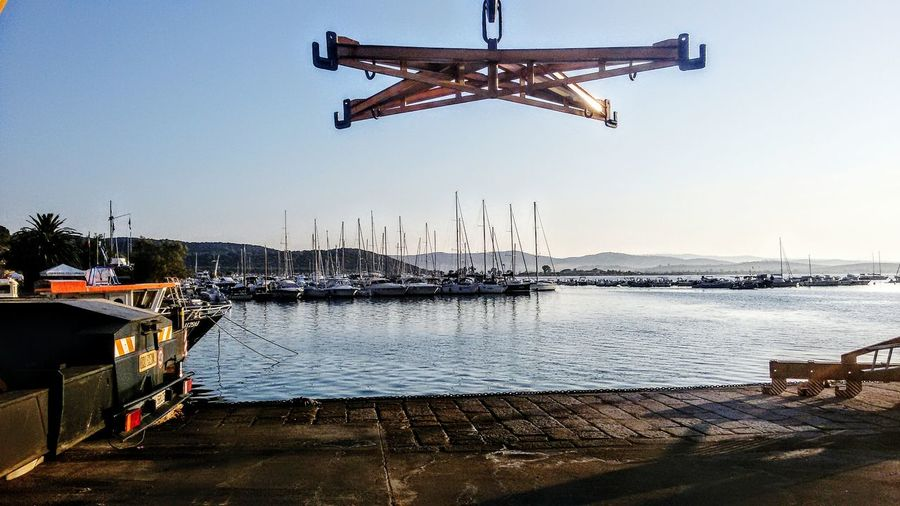 Hanging Visual Creativity Fotografie Fotography Photographyislife Fine No People Outdoors Object Photography Premium Moored Boats Jetty Hanging In Talamone Tuscany Italy Exceptional Photography Popolari Sunrise Colors SpiritualInspiration Good Morning World! Colour Your Horizn Nautical Vessel Harbor Moored