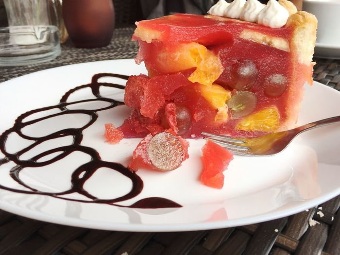 Close-up of dessert in plate on table